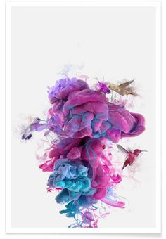 Hummingbirds Ink als Premium Poster von Dániel Taylor | JUNIQE