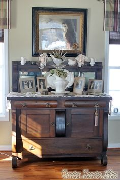 Creative Country Mom's: Vintage Bridal Photos on my Antique Sideboard