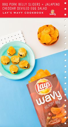 Use LAY'S® Wavy Hickory BBQ Potato Chips to whip up BBQ Pork Belly Sliders + Jalapeño Cheddar Deviled Egg Salad. Click pin to view the whole recipe.
