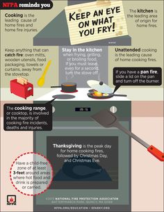 As many of you know, cooking is the leading cause of home fires and home fire injuries. This new infographic, developed by NFPA, highlights important Security Tips, Safety And Security, Fire Safety Poster, Safety Posters, Home Safety Tips, Fire Prevention, In Case Of Emergency, Emergency Preparedness, Cooking Tips