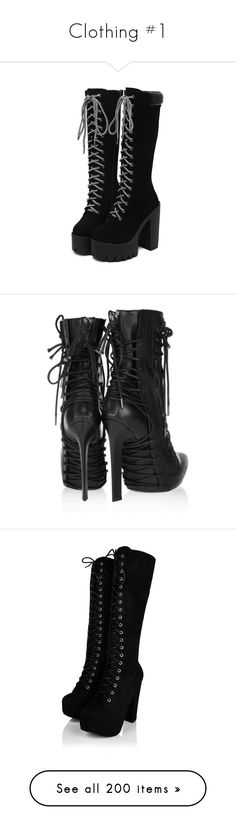 """""""Clothing #1"""" by sleeping-with-loki ❤ liked on Polyvore featuring shoes, boots, heels, chunky black boots, black winter boots, lace up high heel boots, high heel boots, black chunky heel boots, ankle booties and ankle boots"""