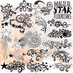 Star ClipArt Design, Whimsical Swirly Flourish, Decorative Star Embellishment, Scroll Border, Fancy Line Art Silhouette Star Tattoo Designs, Star Designs, Lettering Styles, Hand Lettering, Star Doodle, Doodle Art, Tangle Doodle, Doodle Ideas, Doodle Drawings