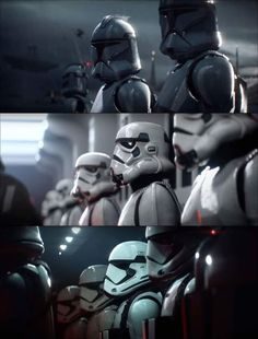 Top (CGI clones), middle (not a real camera shot), bottom (real shot from The Force Awakens)