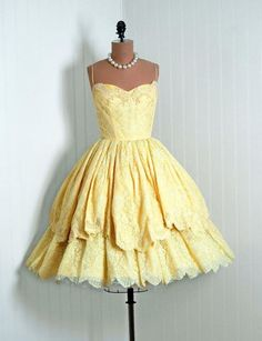 50s lacy two-tiered yellow dress