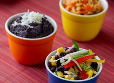 Jícama Slaw, Black Bean Mash, and Mexican-Style Rice I The Culinary Institute of America