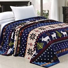 BNF Home Winter Snowflake Cabin Deer Twin/Queen Size Flannel Bed Blanket Bedding Christmas Bedding, Christmas Deer, Christmas Snowflakes, Christmas Crafts, Christmas Time, Christmas Sheets, Vintage Christmas, Southwestern Bedding, Bedroom Blinds