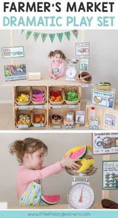 Set up a Farmer's Market or Fruit and Veg shop in your dramatic play and imaginative play space fruit and vegetable dramatic play printables Imaginative play ideas for toddlers, preschoolers and kindergarten children Posters, signs, labels and print Dramatic Play Area, Dramatic Play Centers, Preschool Dramatic Play, Toddler Preschool, Preschool Activities, Preschool Kindergarten, Preschool Set Up, Preschool Centers, Role Play Areas