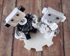 Robot Wedding Cake Topper READY TO SHIP Cute Bots Smirk Smiles