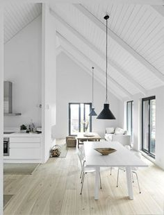 Pitched Roofing + Wooden Beams - The Design Chaser. home decor and interior decorating idea. House Design, House Styles, Interior Design, House Interior, Home, Interior, Flooring Inspiration, White Interior, Home Decor