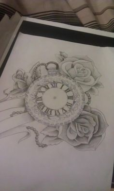 rose and pocket watch tatoos | Pocket watch and roses by Mustang-Inky