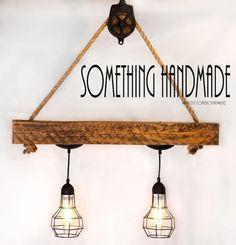 reclaimed barn beam industrial light - rustic light 1800s barn beam and pulley