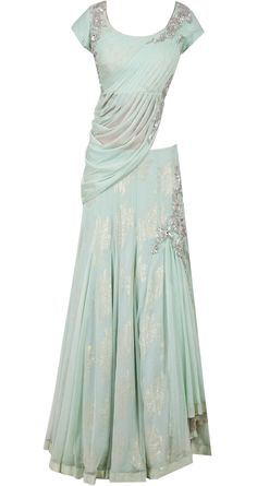 Aquamarine draped blouse lehenga by GAURAV GUPTA. Shop at http://www.perniaspopupshop.com/whats-new/gaurav-gupta-aquamarine-draped-blouse-lehenga-ggc091303.html