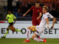 Stefan El Shaarawy of AS Roma competes for the ball with Filip Helander of Bologna FC during the Serie A match between AS Roma and Bologna FC at Stadio Olimpico on October 28, 2017 in Rome, Italy. - 29 of 93