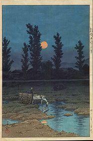 Kawase Hasui – Moon at Nakanoshima, stampa xilografica - Arte Deco Japan Illustration, Japanese Woodcut, Bokashi, Art Asiatique, Japanese Landscape, Art Japonais, Japanese Painting, Japanese Prints, Japan Art