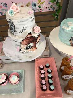 Lena's Bamb 1st birthday party   CatchMyParty.com 1st Birthday Cake For Girls, First Birthday Party Themes, Baby Birthday, Purple Birthday, Birthday Ideas, Baby Shower Cakes Neutral, Baby Shower Cake Pops, Baby Shower Niño, Diy 1st Birthday Decorations