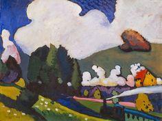 Vasily Kandinsky, Paisagem perto de Murnau com Locomotiva, 1909.  Óleo sobre tela, Solomon R. Guggenheim Museum, New York   Kandinsky antes da Abstração, 1901-1911  http://gabineted.blogspot.com.br/2015/01/kandinsky-antes-da-abstracao-1901-1911.html