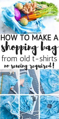 How to make a DIY shopping bag that you can take grocery shopping or - Sewing Projects, Craft Projects, Sewing Hacks, Craft Ideas, Sewing Ideas, Diy Ideas, Recycled Crafts, Recycled Clothing, Recycled Fashion