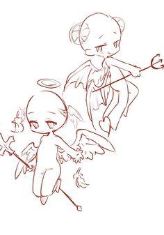 Anime Drawings Sketches, Anime Sketch, Kawaii Drawings, Cute Drawings, Chibi Body, Cartoon Art Styles, Drawing Reference Poses, Art Poses, Drawing Base