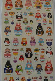 Kawaii Mind Wave Japanese  ANIMAL MATRYOSHKA sticker sheet