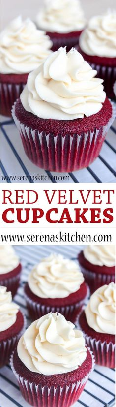 Red Velvet Cupcakes with Cream Cheese Frosting. The cupcakes are light and moist, and the frosting is tangy, creamy, and so delicious! Baking Cupcakes, Yummy Cupcakes, Cupcake Recipes, Baking Recipes, Cupcake Cakes, Dessert Recipes, Moist Vanilla Cupcakes, Cupcake Frosting, Frosting Recipes