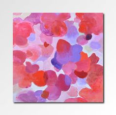 Original abstract flowers painting pink red 20 X 20