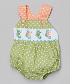 Look what I found on #zulily! Green Seahorse Smocked Bubble Bodysuit - Infant #zulilyfinds