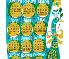 Peacock Calendar @kenguroo $20.00 USD #illustration #retro #peacock #calendar #2012 #blue #yellow #bright