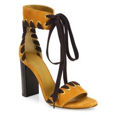 Chloé Miles Whipstitch Suede Block-Heel Sandals (3,355 SAR) ❤ liked on Polyvore featuring shoes, sandals, ochre, ankle cuff heel sandals, colorblock shoes, colorblock sandals, block-heel sandals and fleece-lined shoes