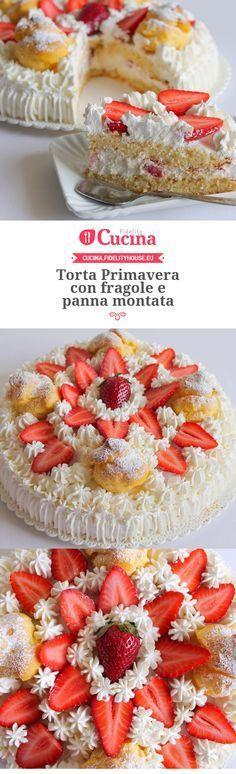 Torta Primavera con fragole e panna montata