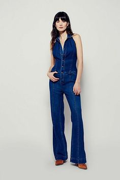 2452b3829f6 Jumpsuits   Rompers · Free People Neko One Piece Halter Denim Jumpsuit Open  Back New! Size 6  150