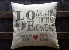 Handmade Personalized Baby Pillow Cover  Customized by NoddingOwl