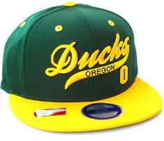 a691fdd21db2e Oregon Ducks Flat Bill Script Snapback Hat Cap Green Yellow NCAA.  18.88