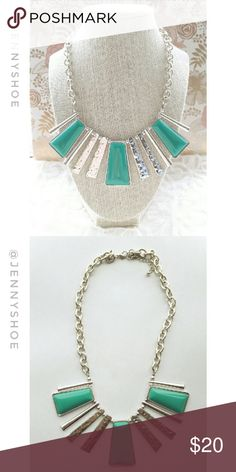{anthropologie} statement necklace A gorgeous and unique silver tone and turquoise statement necklace from Anthropologie  Add some interest to your outfit- this necklace will be sure to catch eyes and get you many compliments!  Gently worn Anthropologie Jewelry Necklaces