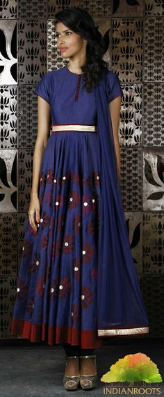 Indigo Chanderi #Anarkali #Suit with Silk Applique by Rohit Bal. Shop at Indianroots.com
