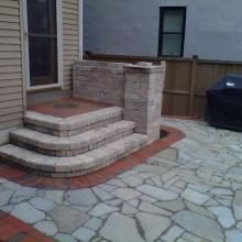 Brussels patio steps with brick stoop and inlaid bluestone. Victorian Village, Front Stoop, Patio Steps, Outdoor Living, Outdoor Decor, Concrete Patio, The Great Outdoors, Curb Appeal, Brick