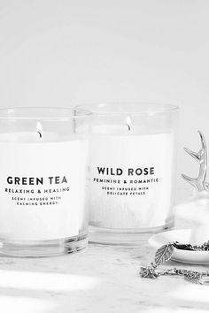 Green tea scented candle, wild rose scented candle, white candles
