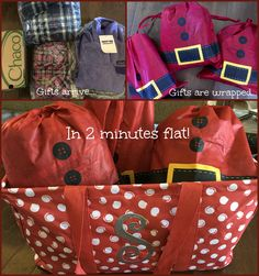 This holiday season, I'm giving myself the gift of TIME. Here's my morning. Gifts arrived via UPS (thanks, Amazon Prime!), I get out my Timeless Memory Pouches (just $5/set). Two minutes later, gifts are wrapped, placed in a large utility tote, and ready for Christmas morning. (http://www.mythirtyone.com/AlliRambles)
