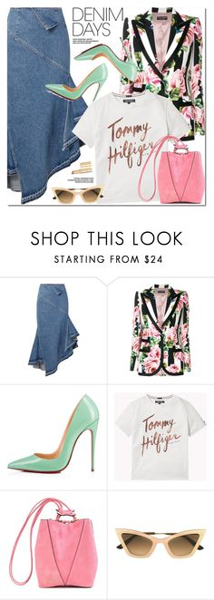 """""""Jean Dreams: Denim Skirts"""" by oshint ❤ liked on Polyvore featuring Monse, Dolce&Gabbana, Christian Louboutin, Miu Miu, Christian Roth, Too Faced Cosmetics and denimskirts"""