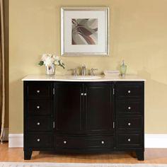 Silkroad Exclusive 55-inch Crema Marfil Marble Stone Top Bathroom Single Sink Vanity