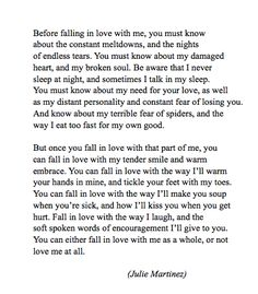 Before falling in love with me...
