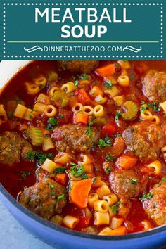 This Italian meatball soup is tender beef meatballs, vegetables and pasta, all simmered in a rich tomato broth. An easy dinner option! Italian Meatball Soup, Italian Meatballs, Italian Beef Stew Recipe, Chicken Meatball Soup, Italian Soup Recipes, Meatball Stew, Chicken Chili, Dinner Recipes, Dessert Recipes