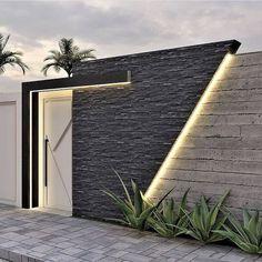 Compound Wall Gate Design, Fence Wall Design, Modern Fence Design, Window Grill Design, House Front Design, Door Design, Exterior Design, Modern Bungalow Exterior, Villa