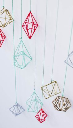 Be quirky and non-traditional this Christmas with our range of brightly coloured geometric diamond decorations! Available now at Oliver Bonas. Diamond Decorations, Xmas Decorations, Holiday Fun, Christmas Diy, Christmas Ornaments, Diy Straw, Oliver Bonas, Geometric Wall, Affordable Home Decor