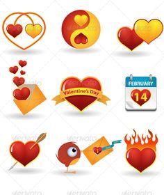 Valentine's day icon set  #GraphicRiver         Valentine's day vector icon set