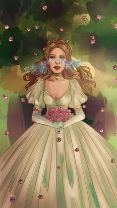 """A bride to spring, a mate to night"". A Court of Mist and Fury fanart #1 by Silviarts Feyre at her wedding in the Spring Court in ACOMAF by Sarah J. Maas (she's also crying stars, you know why if you've read the book :D)."