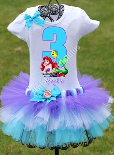 Little Mermaid Birthday Outfit, FAST SHIPPING, Birthday Outfit, Ariel Tutu, Purple Tutu, Etsy