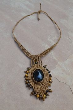 Dark Desert Macrame Necklace/ Macrame Jewelry/ by SpiritYSol, $76.00