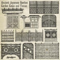 Vector Art of Ancient Japanese Bamboo Garden Gates and Fences Vektorkunst von alten japanischen Bamb