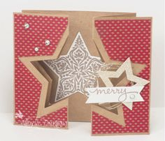 handmade Christmas card ... gatefold double Z with die cut star at the fold ... cleaver use of star thinlets ... kraft with red an vanilla ...
