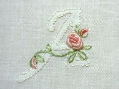 Monogram AddOn Floral Hand Embroidered by CommonThreadCottage